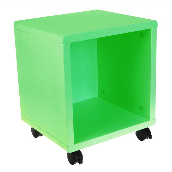 cube d co sur roulettes achat vente petit meuble rangement cube d co roulettes vert cdiscount. Black Bedroom Furniture Sets. Home Design Ideas