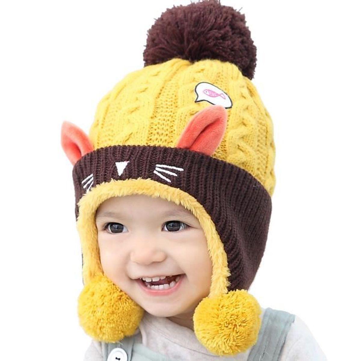 3a313cfbe65 ... chapeau-Couleur Jaune. BONNET - CAGOULE Bonnet en Tricot pour bébé  Chiot enfant fille orei