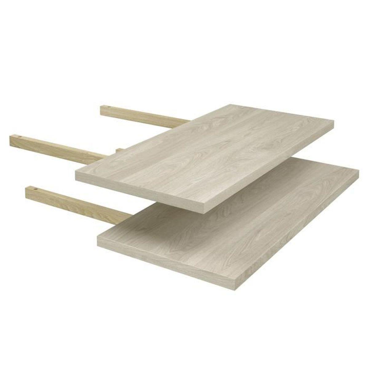 lot de 2 rallonges pour table rectangulaire, coloris chêne flamand