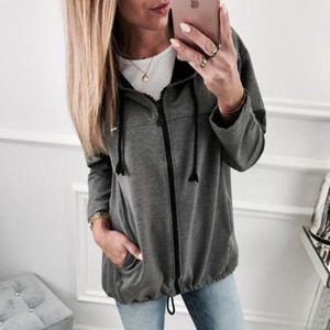 ab9ed5ee69087 Sweat-shirt femme Pull à capuche zippé avec deux poches Gris foncé ...