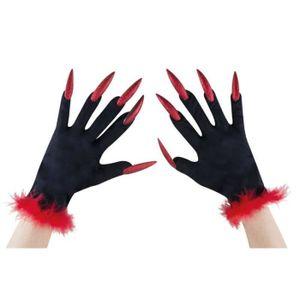 dfe18ca6a969 GANT - MOUFLE Gants noirs avec ongles rouges Halloween (x1) REF