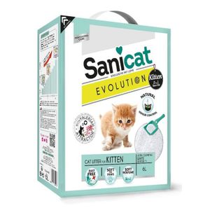LITIÈRE SILICE - ARGILE SANICAT Litière Evolution Kitten 6L - Pour chaton