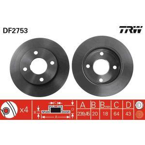 DISQUES DE FREIN TRW Lot de 2 Disques de frein DF2753
