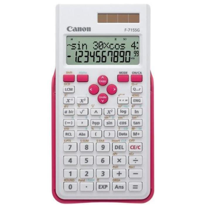 CANON Calculatrice scientifique F-715SG - 10 chiffres + 2 exposants - Panneau solaire, pile - Blanc avec magenta