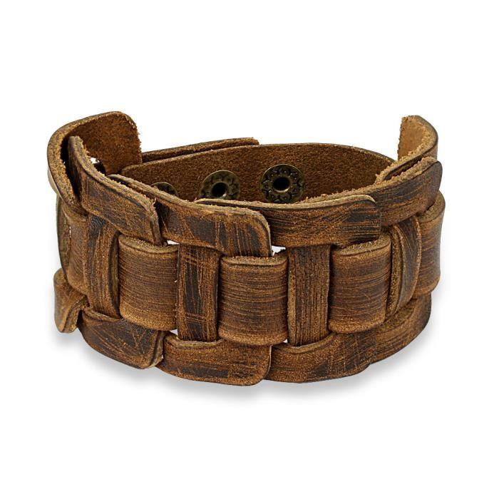 Coolbodyart® de Tapsi le bracelet en cuir avec Madame cuir tressé noué motif de longueur brun 240 mm Largeur Longueur 38 mm réglable