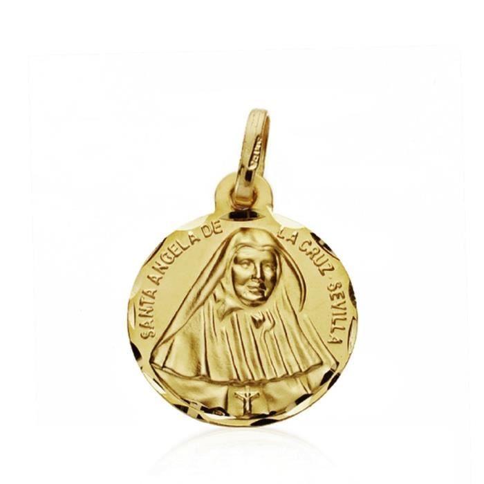 Médaille pendentif 18k or St. Angela de la Cruz 16 mm. [AA7430GR] - ENREGISTREMENT inclus dans le prix