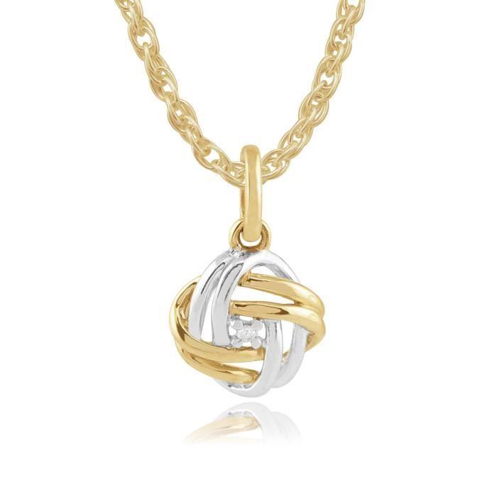 Gemondo 9ct Deux Couleurs Or Jaune Et Blanc Diamant Noeud Damour D�votion Collier