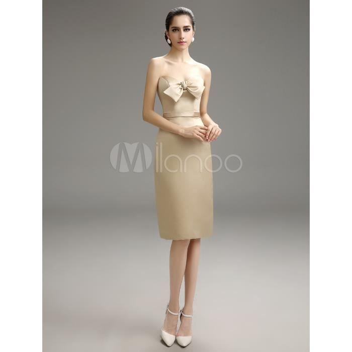 cb56b1719034 Robe demoiselle d honneur bustier champagne avec ceinture Marron ...