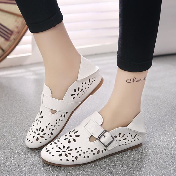 De nouvelles femmes Chaussures en cuir Mocassins Mère Mocassins douce Loisirs Flats Femme Chaussures Casual Auto,blanc,5.5