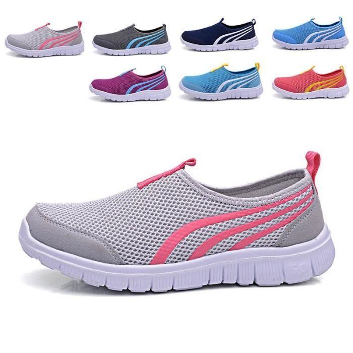 chaussures de sport respirant à lacets en plein air l'été chaussures de course de sport Chaussures Baskets marche en plein air Mesh uvbsQLv