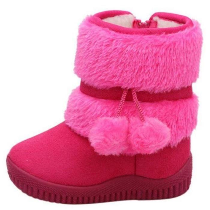 Hiver Bottes Enfants En Peluche Chaussures Filles Garçon Bottines BBZH-XZ095Rouge22 umFcqlXXWr
