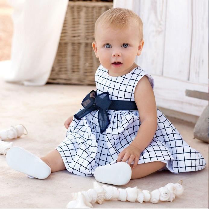 be659894db786 0-24 Mois Bébé Fille Robe à Carreaux Bleu sans Manche Vêtement Mode Été