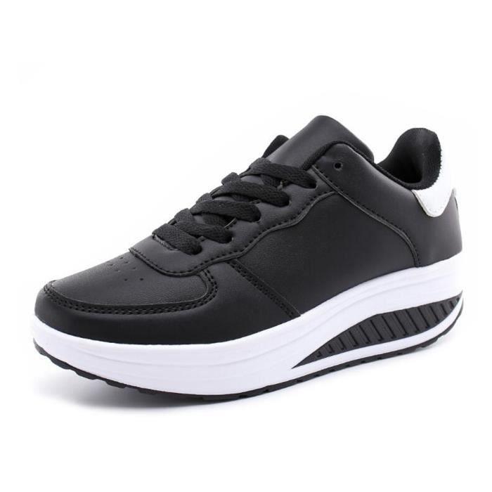 Chaussure en cuir Basket Femme Noir talons hauts Noir Noir - Achat ... a852190931c4
