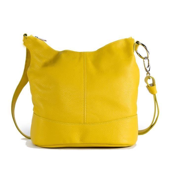 Sac à main femme en cuir - Modèle Beaubourg jaune