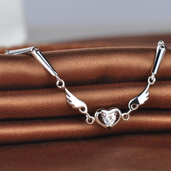 Infinite U Bracelet femme en argent 925 Le cœur et laile orné zircon comme cadeau