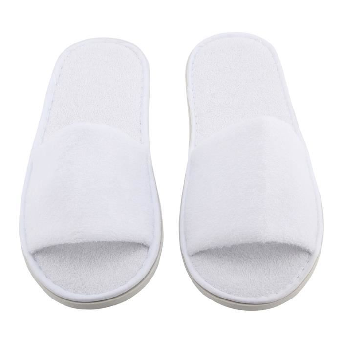 5 paires White Toweling Hotel Pantoufles a boutons jetables Terry SPA Party Party Party