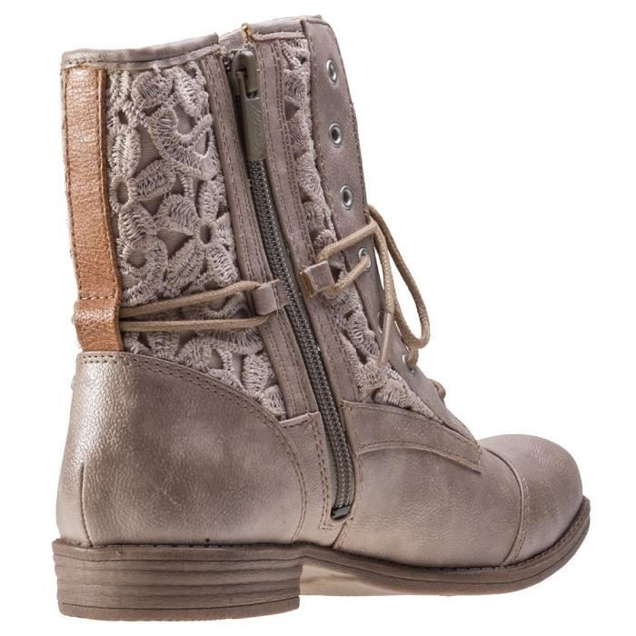 Mustang Embroidery Zip Femmes Bottes Taupe - 41 EU