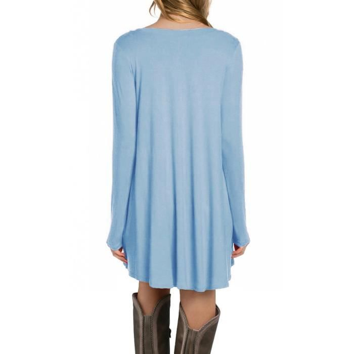 Womens Long Sleeve Casual Loose Pocket Tunic Dress (uk 8,10,12,14,16,18,20) 2FRADX Taille-38