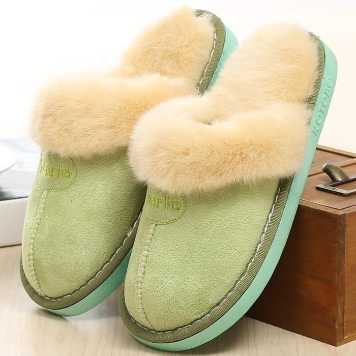 pantoufles pantoufles en coton hiver deux nouvelles pantoufles en peluche maison chaussures hiver femmes,vert,42