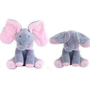 PELUCHE jouet en peluche éléphant peek-a-boo, jeu de cache