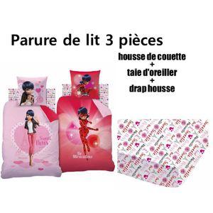 6ef73fe72d1968 Parure de lit Miraculous Ladybug 100 % coton - Housse de couette  (140x200