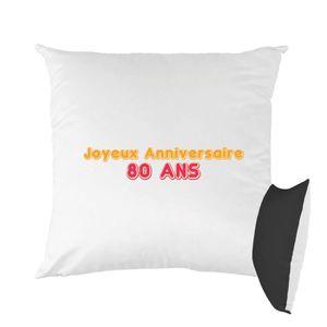 HOUSSE DE COUSSIN Coussin bicolore imprimé 40x40 cm joyeux anniversa