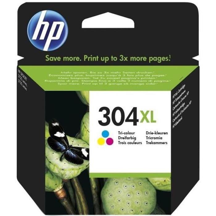 HP Cartouche d'encre 304XL - Trois couleurs : Magenta, Jaune, Cyan