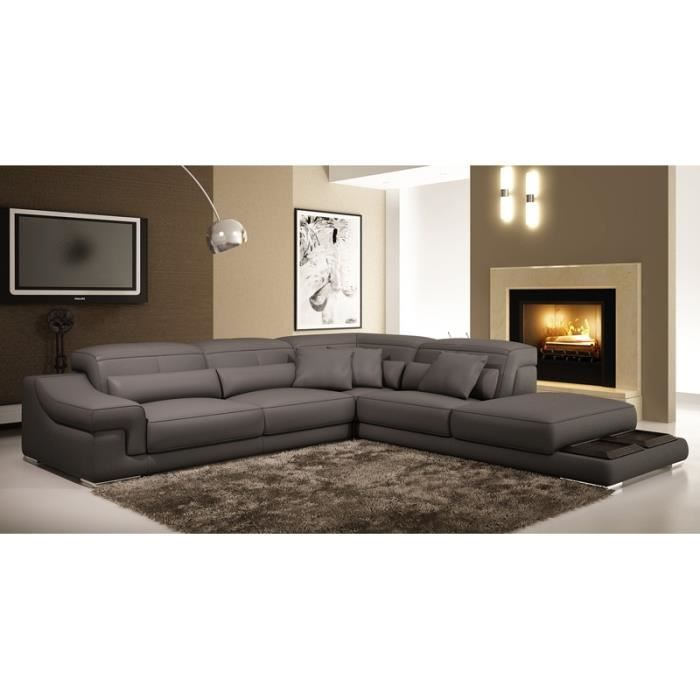 Canapé d angle en cuir gris Grissom Achat Vente canapé sofa