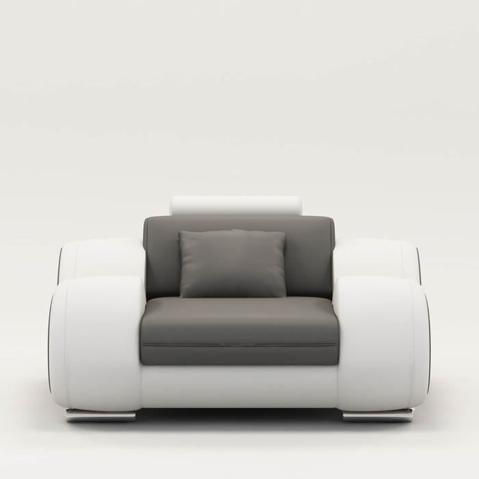 Fauteuil cuir relax design gris et blanc OSLO Achat Vente