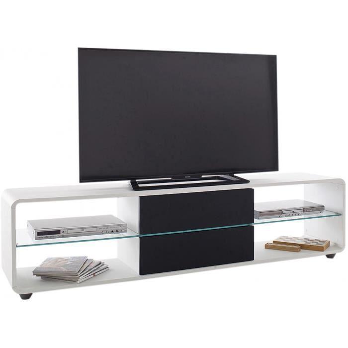 Meuble Tv Design Avec 2 Tiroirs En Bois Mdf Coloris Blanc Et Noir