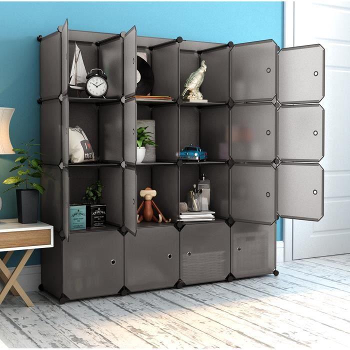 Langria Armoire Penderie 16 Cubes Avec Portes étagère Modulable