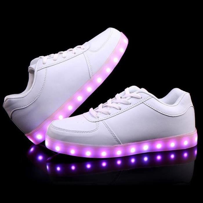 Chaussures LED 7 Multicolore de Recharge USB LED chaussures légères jusqu'à Glow Sneakers KIANII® Blanc