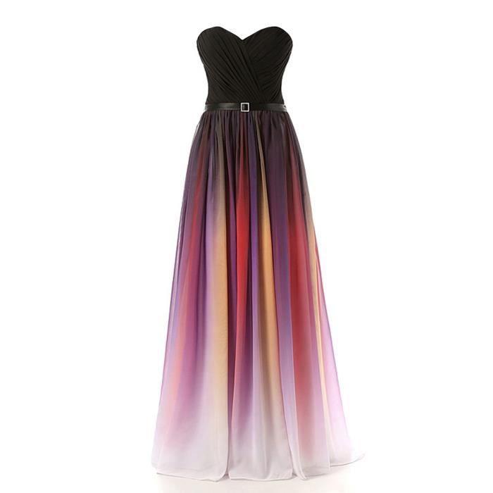 Robe de soiree longue bustier multicolore