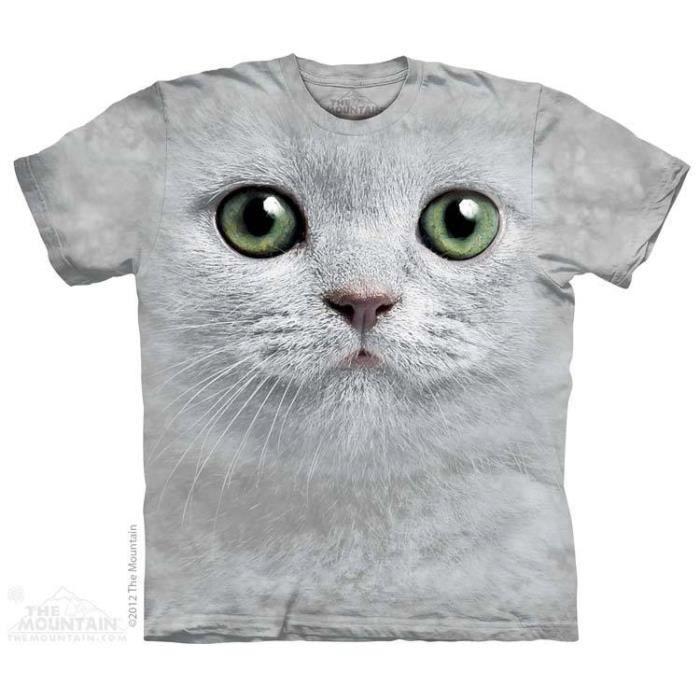 Shirt De GrisMotif Courtes Manches Tee Chat Imprimé Tête Homme NnOPZ0kX8w