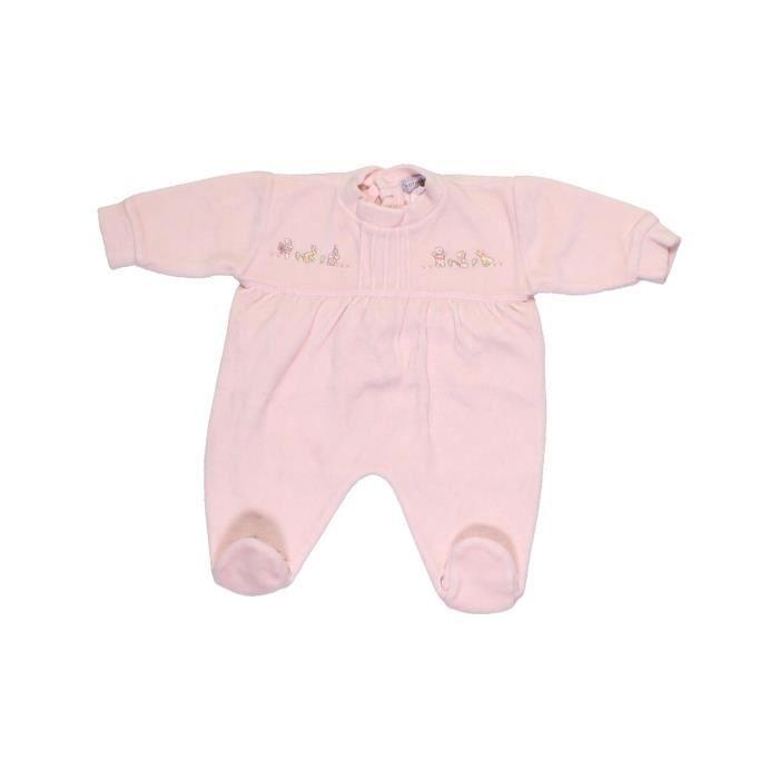 919d59376ed0c Pyjama 1 pièce bébé fille NATALYS 1 mois blanc hiver - vêtement bébé   1033199