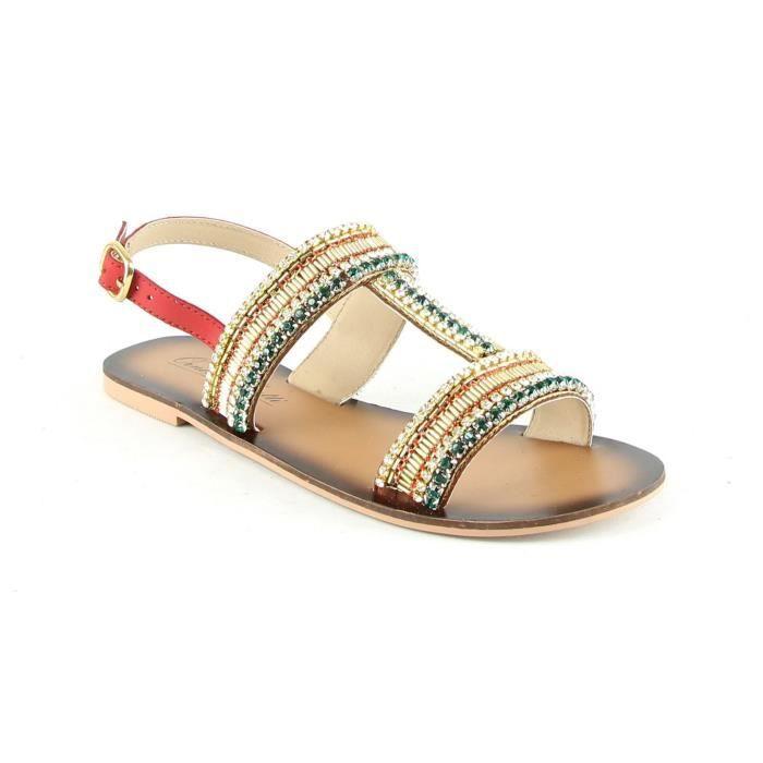 Sandales en cuir - rouge