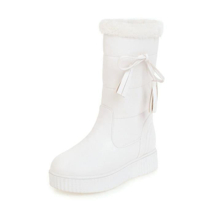 Toe Femmes Bottes de neige Round Chic chaud tout Chaussures plates match 10471508 roNCXfgDLK