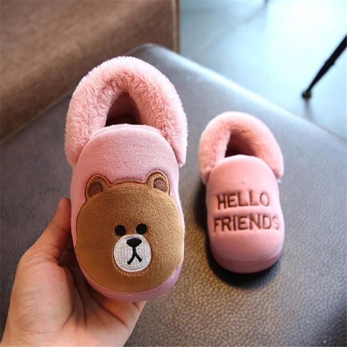 Les lapins pantoufles pour enfants mixtes chausson hiver chaud maison intérieur Coton Chaussures en cachemire 14-19,rouge,15