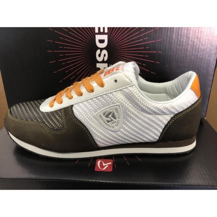 chaussures redskins disca kaki/blanc/orange 42