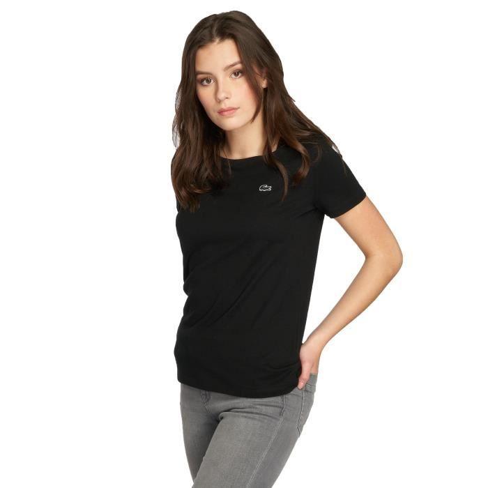d4722308ae Lacoste Femme Hauts / T-Shirt Classic Noir Noir - Achat / Vente t ...