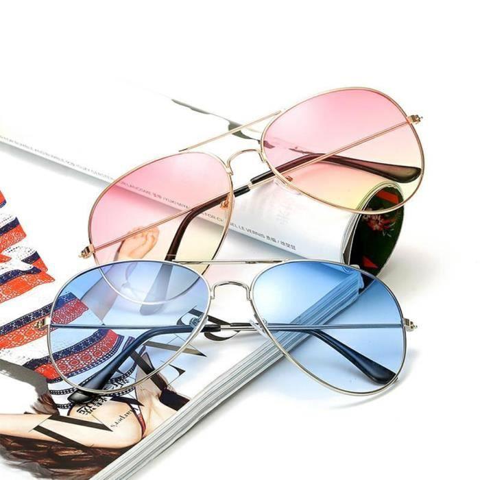 Lunettes de soleil mixte homme et femme Fashion de Métal Cadre sunglasses marque de Luxe Argent/Blanc