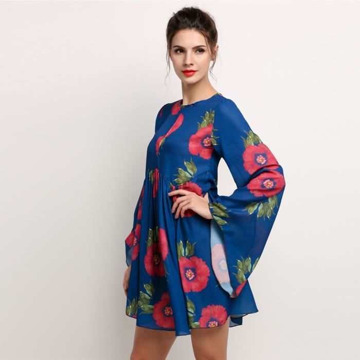 Mini robe femme long manches floral