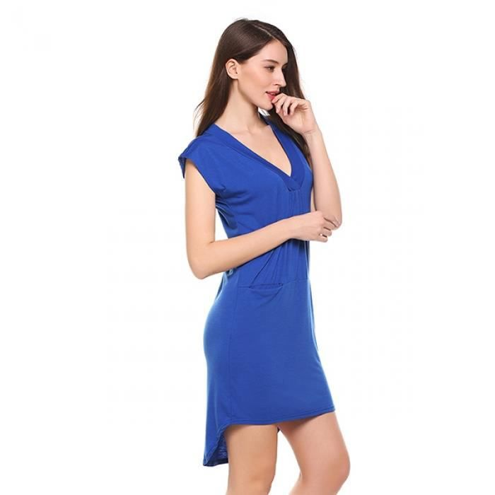 robe haut bas Ourlet occasionnel poches sexy femmes solide AFxwrA