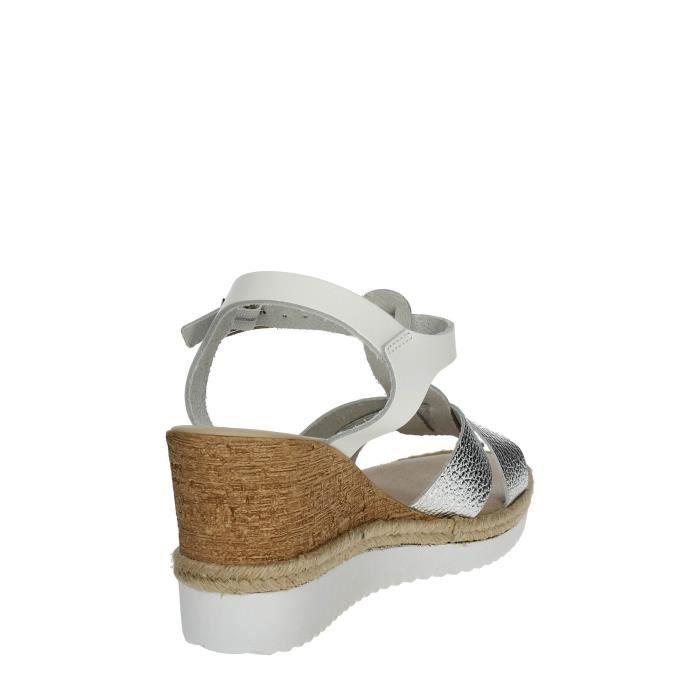 Cinzia Soft Sandale Femme Blanc/Argent, 35