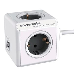 MULTIPRISE Bloc multiprise PowerCube 4 prises + 2 USB + câble