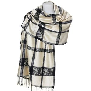ECHARPE - FOULARD Étole style pashmina blanche et noire 60f493a020f