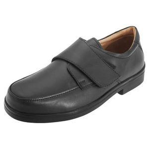 Chaussures cuir velcro sangle larges de avec Homme extra ville en Roamers IqSw4I