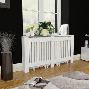 PIÈCE RADIATEUR  Cache-radiateur Blanc MDF 152 cm Chauffage maison