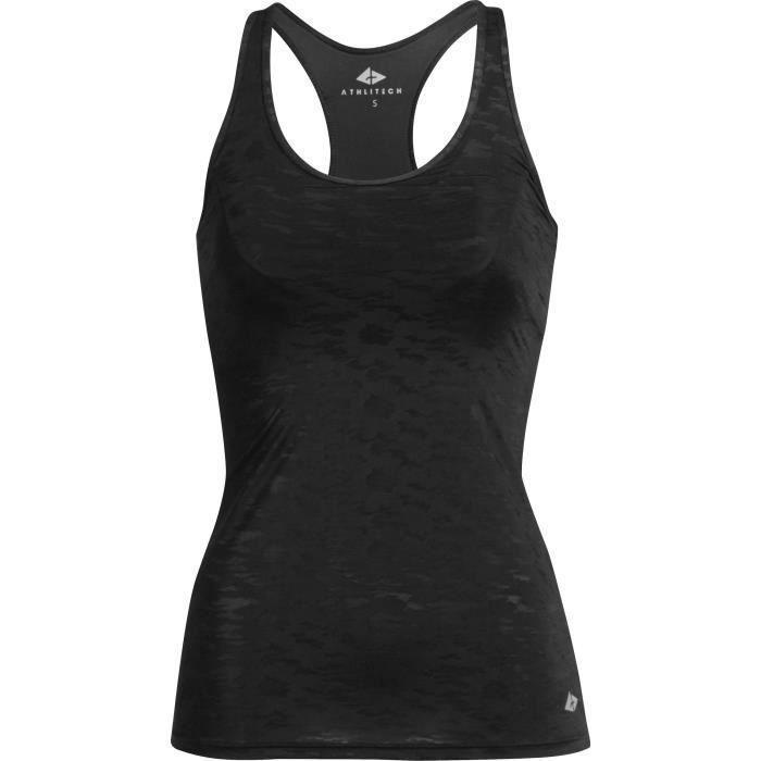 ATHLI-TECH T-shirt Caliope femme soutien-gorge intégré - Noir