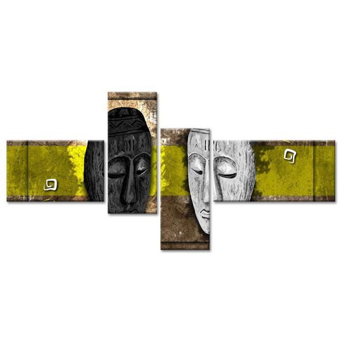 Thème : Pas de thème - Tableau Déco Masques Style Africain - Africain - 130x65 cm - JauneTABLEAU - TOILE